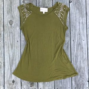 Philosophy olive green tank top with rhinestones